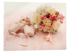 Verre acrylique  Ballet shoes with bouquet