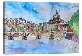 Tableau sur toile  Vatican Rome Italy Sunset On River Tiber With St Peter II - M. Bleichner