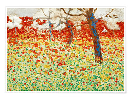 Poster  Flower meadow with trees - Egon Schiele