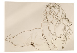 Verre acrylique  Resting himself Female act with long hair - Egon Schiele