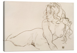 Toile  Resting himself Female act with long hair - Egon Schiele
