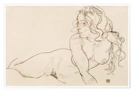 Poster  Resting himself Female act with long hair - Egon Schiele