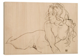 Bois  Resting himself Female act with long hair - Egon Schiele