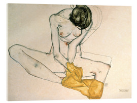 Verre acrylique  Seated with yellow cloth - Egon Schiele