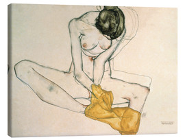 Toile  Seated with yellow cloth - Egon Schiele