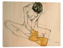 Bois  Seated with yellow cloth - Egon Schiele