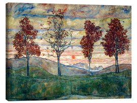 Toile  Four trees - Egon Schiele