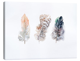 Toile  3 plumes - Verbrugge Watercolor