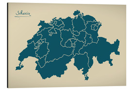 Tableau en aluminium  Switzerland Modern Map Artwork Design - Ingo Menhard