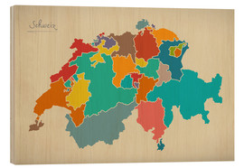 Tableau en bois  Switzerland Modern Map Artwork Design - Ingo Menhard