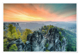 Poster  Bastion Saxon Switzerland Sunrise - Michael Valjak