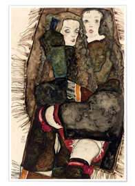 Poster Two Girls on a Fringed Blanket