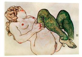 Verre acrylique  Nude with green stockings - Egon Schiele