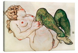 Toile  Nude with green stockings - Egon Schiele