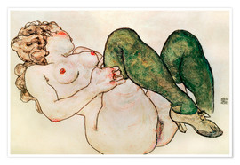 Poster  Nude with green stockings - Egon Schiele
