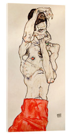 Verre acrylique  Male nude, standing, with red loincloth - Egon Schiele