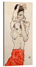 Alu-Dibond  Male nude, standing, with red loincloth - Egon Schiele