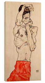 Bois  Male nude, standing, with red loincloth - Egon Schiele