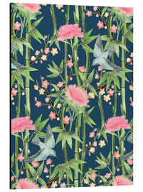 Tableau en aluminium  bamboo birds and blossoms on teal - Micklyn Le Feuvre