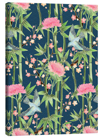 Tableau sur toile  bamboo birds and blossoms on teal - Micklyn Le Feuvre