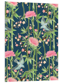 Tableau en PVC  bamboo birds and blossoms on teal - Micklyn Le Feuvre