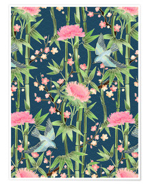 Poster  bamboo birds and blossoms on teal - Micklyn Le Feuvre