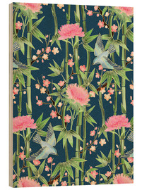 Bois  bamboo birds and blossoms on teal - Micklyn Le Feuvre