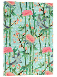 Verre acrylique  bamboo birds and blossoms on mint - Micklyn Le Feuvre
