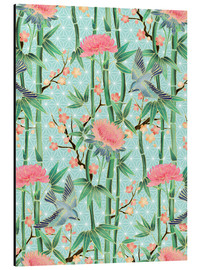 Tableau en aluminium  bamboo birds and blossoms on mint - Micklyn Le Feuvre