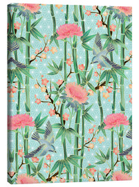 Tableau sur toile  bamboo birds and blossoms on mint - Micklyn Le Feuvre