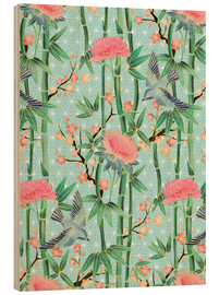 Tableau en bois  bamboo birds and blossoms on mint - Micklyn Le Feuvre