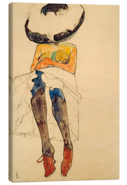 Toile  Nude with Hat - Egon Schiele
