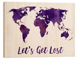 Bois  World map purple - Mod Pop Deco
