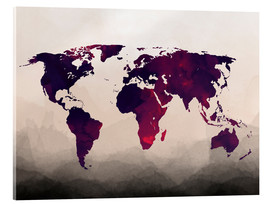 Verre acrylique  World Map Reddish Purple - Mod Pop Deco