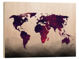 Bois  World Map Reddish Purple - Mod Pop Deco