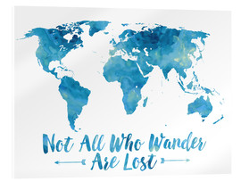 Verre acrylique  World Map Watercolor Blue - Mod Pop Deco