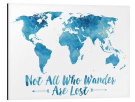 Alu-Dibond  World Map Watercolor Blue - Mod Pop Deco