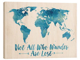 Bois  World Map Watercolor Blue - Mod Pop Deco