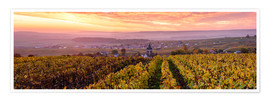 Poster Panoramic of autumn vineyards near Ville Dommange in Champagne, France