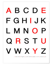 Poster  Alphabet en rouge et noir - Finlay and Noa