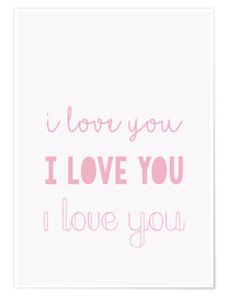 Poster I love you - Je t'aime, pastel