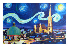Poster  Starry Night in Vienna Austria   Saint Stephan Cathedral Van Gogh Inspirations - M. Bleichner