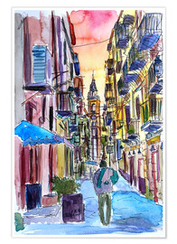 Poster  Fascinating Palermo Sicily Italy Street Scene - M. Bleichner