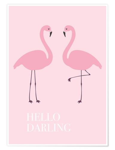 Poster Flamants roses (anglais)