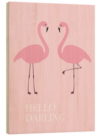 Tableau en bois  Flamants roses (anglais) - Finlay and Noa