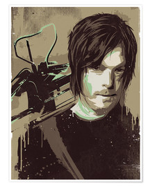 Poster alternative daryl dixon walking illustration