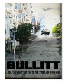 Poster  alternative bullitt retro movie poster - 2ToastDesign