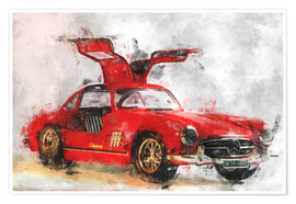 Poster Voiture de collection rouge