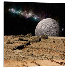 Tableau en aluminium  A moon rises over a rocky and barren alien landscape. - Marc Ward