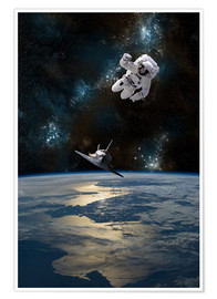 Poster  An astronaut drifting in space is rescued by a space shuttle orbiting Earth. - Marc Ward
